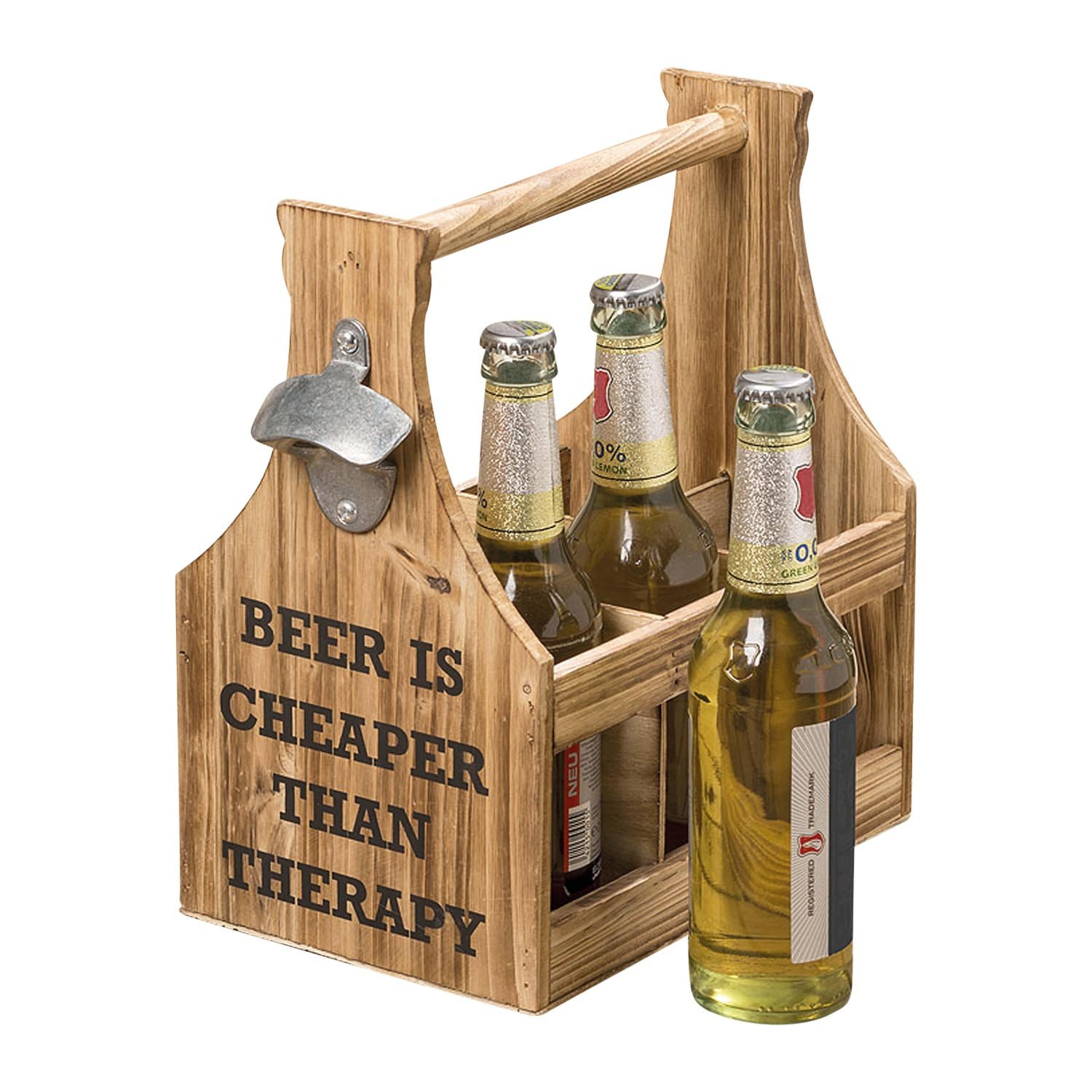 The Americana BEER IS CHEAPER THAN THERAPY, 6 Bottle Caddy Plus Bottle Opener, 6 Compartments, Carry Handle, Silo Style, Flat Panel Wood, Metal, 11 L x 6 3/4 W x 11 3/8T