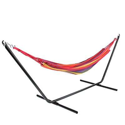 Northlight 32816476 Wide Striped Woven Cotton Single Brazilian Hammock Multi-Color, Multicolor : Garden & Outdoor
