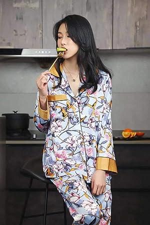 Pijamas Enteros Pijama De Mujer, Flores, Hojas Verdes, Seda ...
