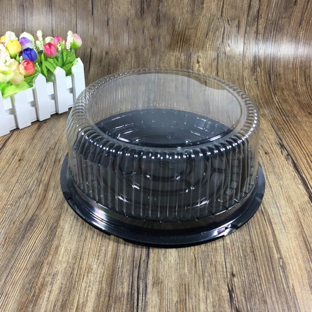 BESTonZON 10,5 Zoll Runde Kuchenbeh/älter Einweg Durchsichtige Plastikkuchen Herausnehmen Halter mit Schwarzer Basis Carry Display Aufbewahrungsbox Set von 10 STK