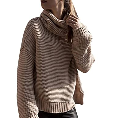 f2019b0e2715c Angelof Pull Col Montant Oversize Femme Hiver Pull Grosse Maille Chaud Café  Blouse Ado Fille Chic