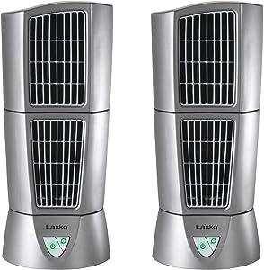 "Lasko Platinum Slim Compact 6"" x 14"" Office Desk Desktop Wind Tower Fan (2 Pack)"