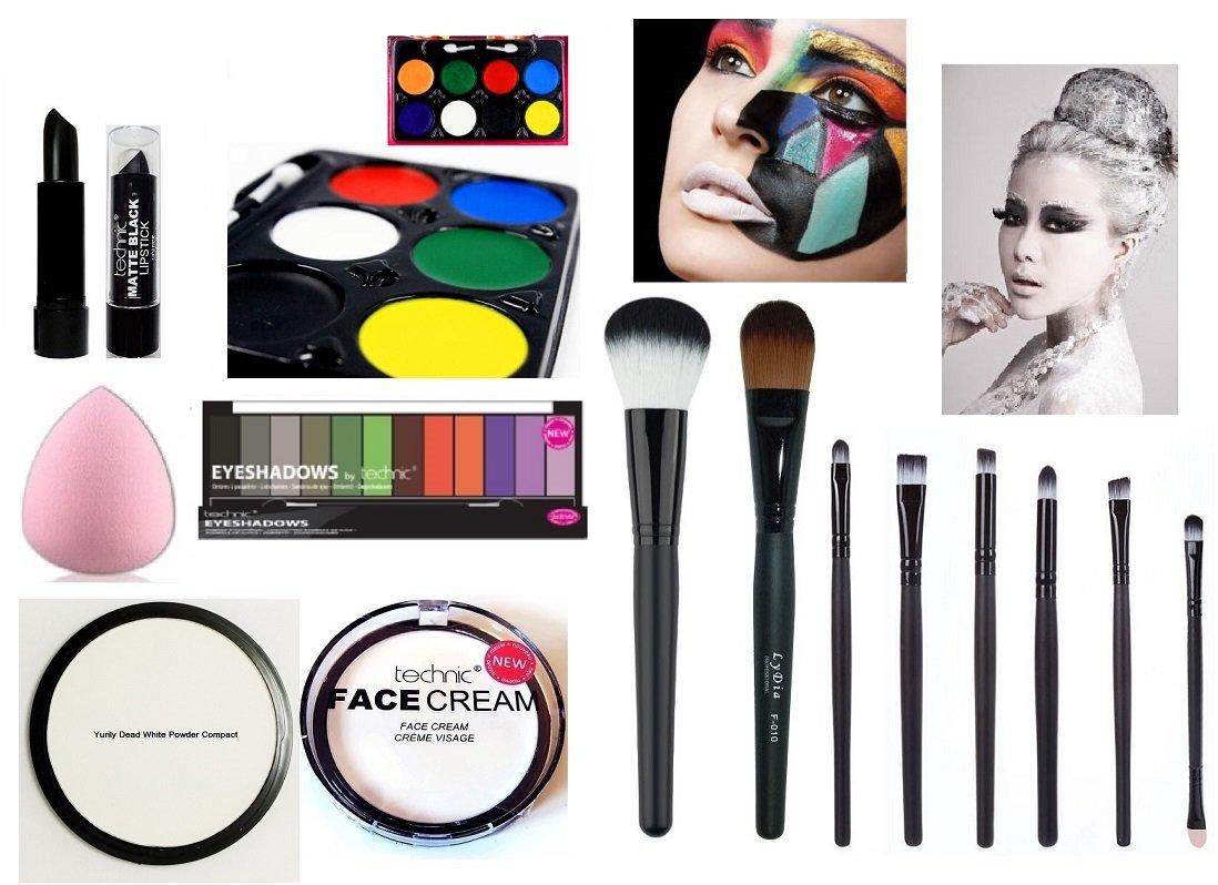14pcs Halloween Makeup Set: 8 Colours Face Paint Palette + Technic White Cream + Yurily Powder + Black Magic Eyeshadow + Black Matte Lipstick + Makeup Brushes. LyDia Beauty