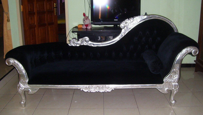 Wunderschöne Couch Recamiere Ottomane Mahagoni silver black
