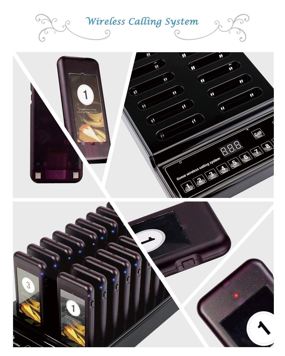 Baile Wireless Calling System Restaurant Pager/Guest Waiting Pager with 20pcs Coaster Pagers and 1pc Call Button Keypad Transmitter by Baile (Image #4)