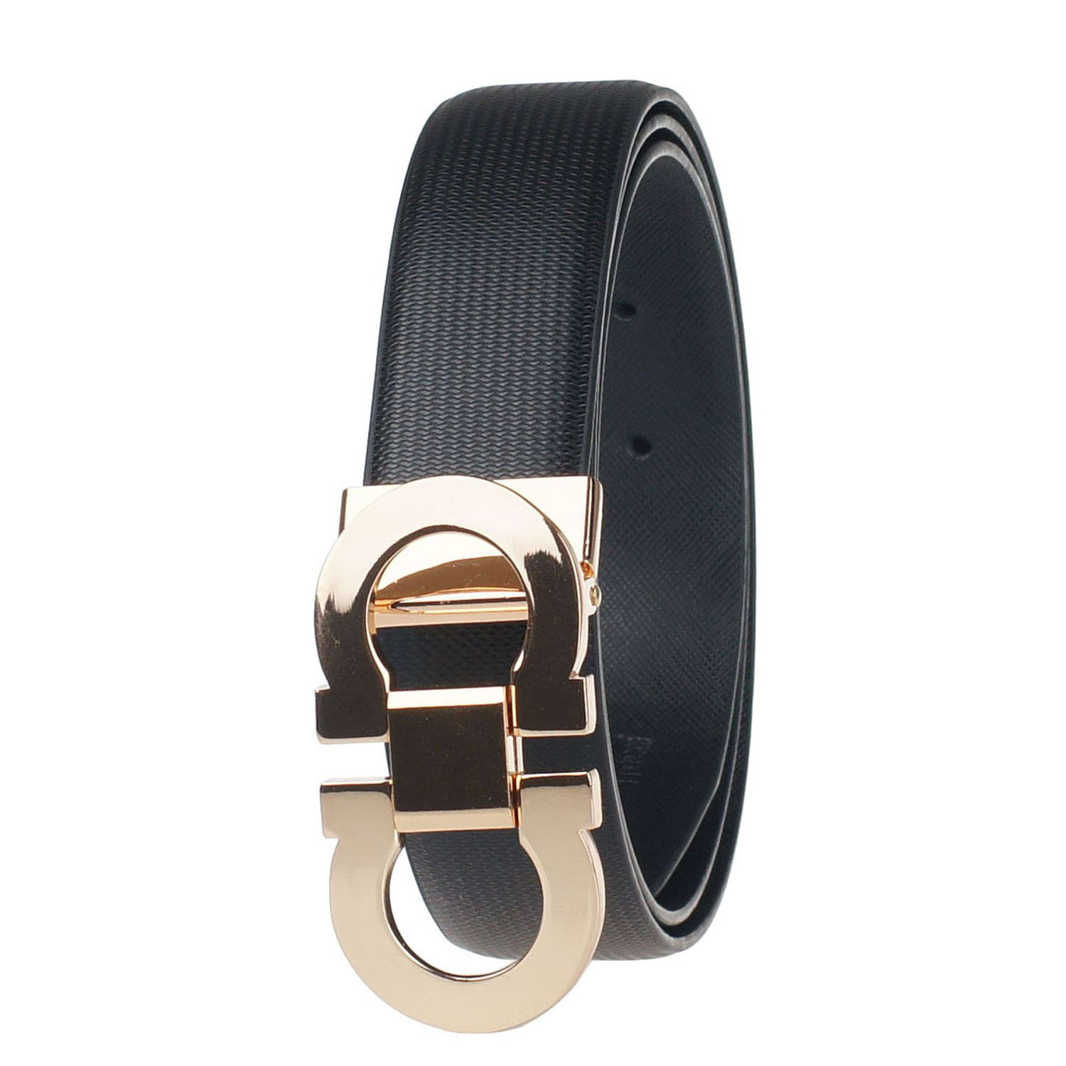 Men's Smooth Leather Buckle Belt 35mm Leather up to 40inch (120cm) Black-Black