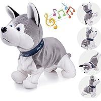 Marsjoy Interactive Puppy Plush Animated Walking Pet Electronic Dog Cute Robot Dog Baby Toys Sound Control Plush Husky Stuffed Animal Dog Toy Toddler Kids Girl Toys Tumbling, Clapping Hands, Bowing