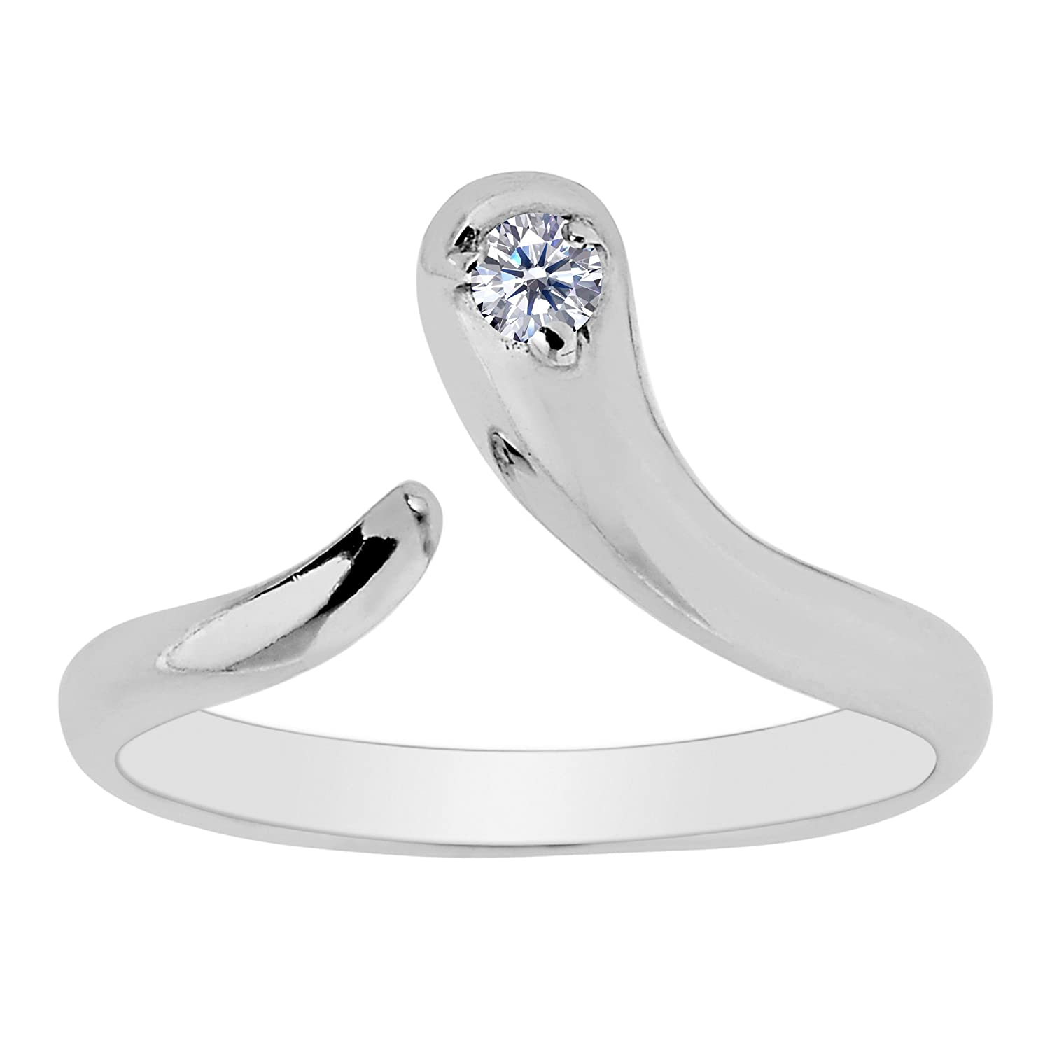 Sterling Silver Snake Shape CZ By Pass Style Adjustable Toe Ring Jewelry Affairs