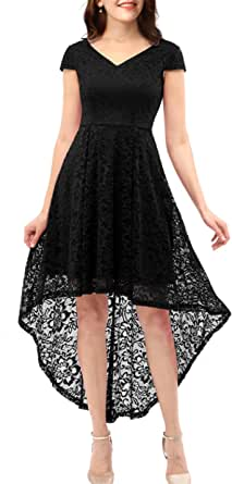 ALAGIRLS Women's Vintage Floral Lace Hi Low Bridesmaid Dress Cap Sleeve Cocktail Party Swing Dresses