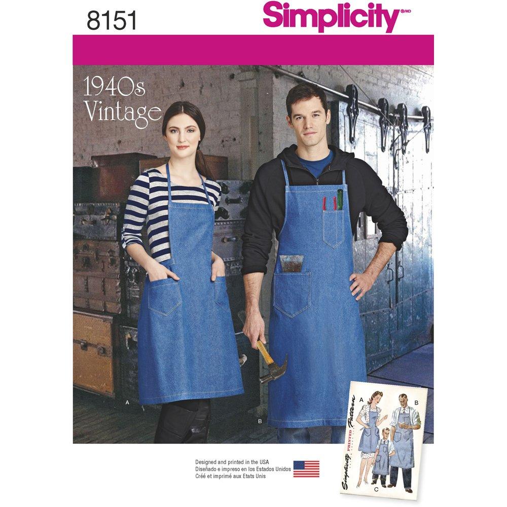 Simplicity Schnittmuster 8151 für Vintage-Schürzen, geeignet für ...