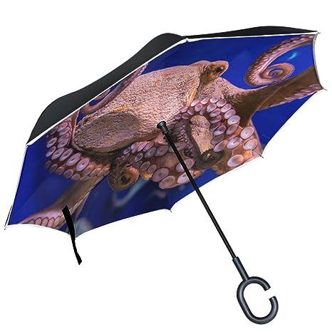 ALAZA pulpo agua salada acuario puede paraguas paraguas de doble capa resistente al viento Reverse