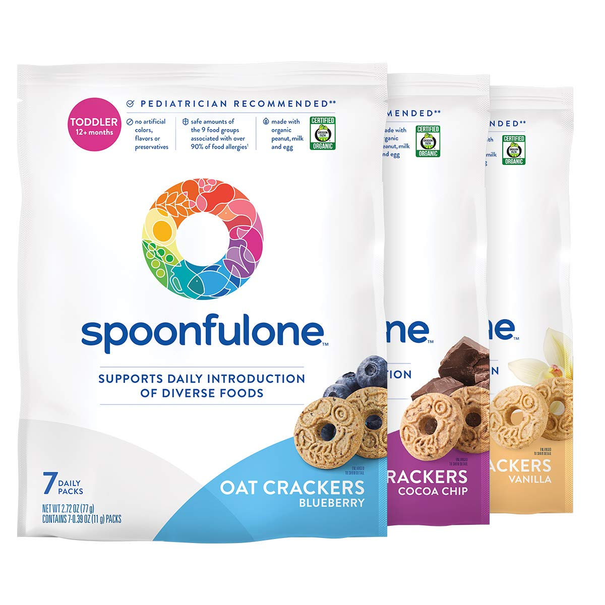 SpoonfulOne Early Allergen Introduction Oat Crackers | Smart Feeding Snack for a Toddler or Baby 12+ Months | Certified Organic (Variety - 21 Pack)