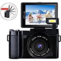 Camera Digital Camera Full HD 1080p 24.0MP Camcorder Video Camera 3.0 Inch Flip Screen Camera with Retractable Flashlight Vlogging Camera for YouTube