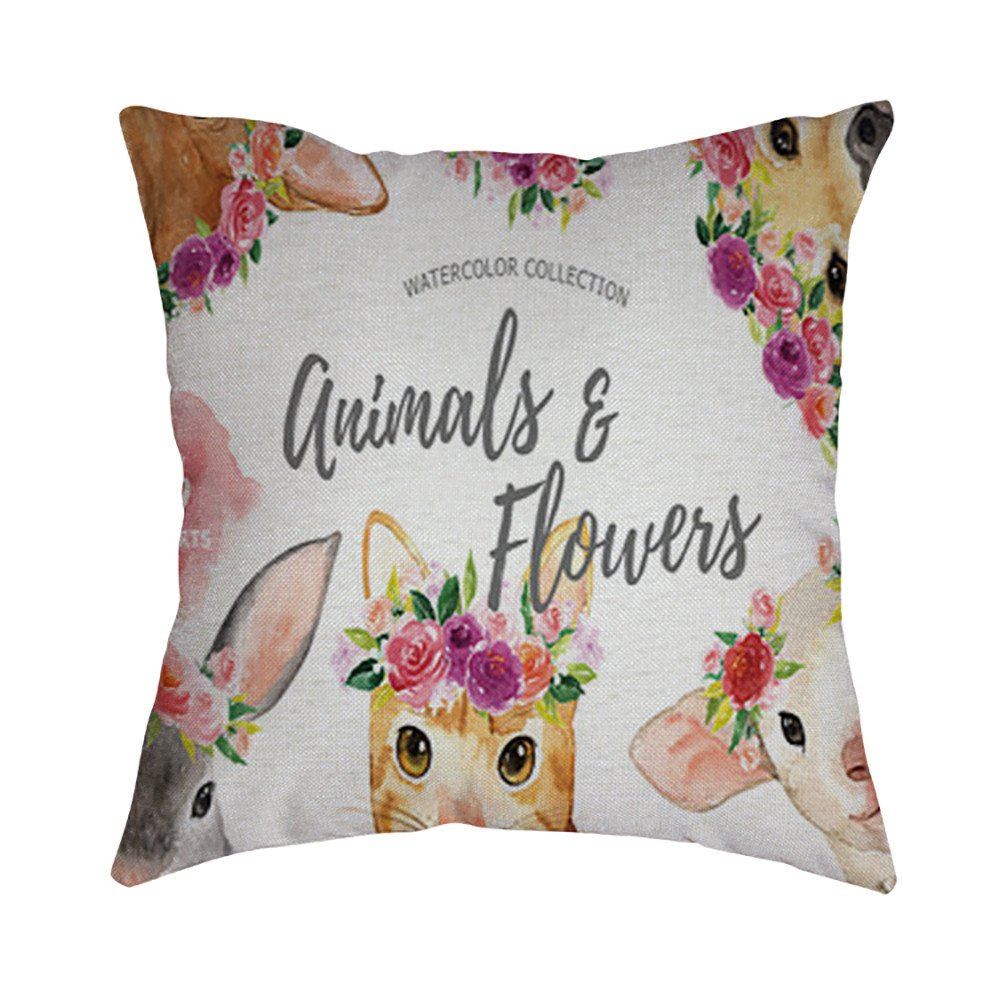 Pet1997 Happy Easter Linen Pillowcase, Festival Rabbit Pillow Case Cushion Cover, Easter Sofa Bed Home Decoration, Luxury Bedding,18 X18 Inch (G)