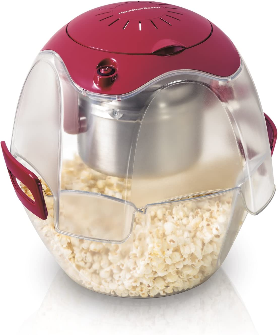 Hamilton Beach 73310 Electric Theater Style Party Popcorn Popper Machine, 6 to 24 Cups, Base Doubles as Serving Bowl, Nests for Easy Storage, Red Discontinued
