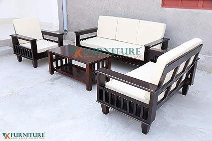 VK Furniture Sheesham Sofa Set for Living Room Wood Furniture | Office |  Wooden Sofa Set 3+2+1 | Walnut Brown
