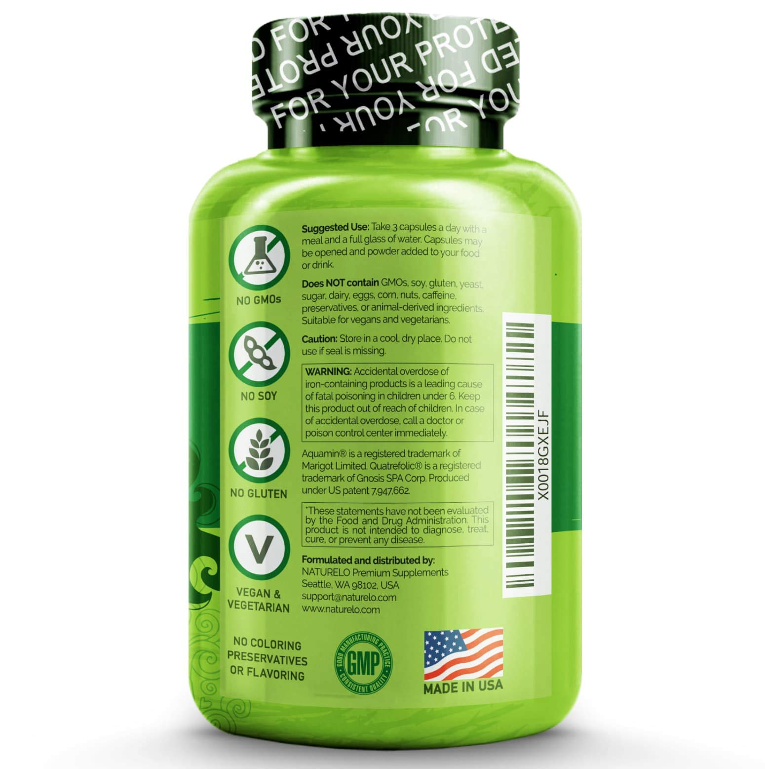 NATURELO Prenatal Whole Food Multivitamin - with Natural Iron, Folate and Calcium - Vegan & Vegetarian - Non-GMO - Gluten Free - 180 Capsules | 2 Month Supply by NATURELO (Image #1)