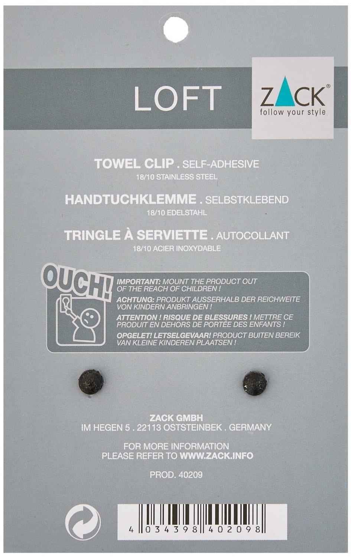 ZACK Loft Towel Clip Stainless Steel 40209