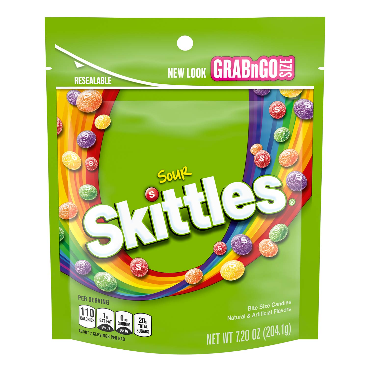 Skittles Sour Candy Bag, 7.2 ounce (8 Bags)