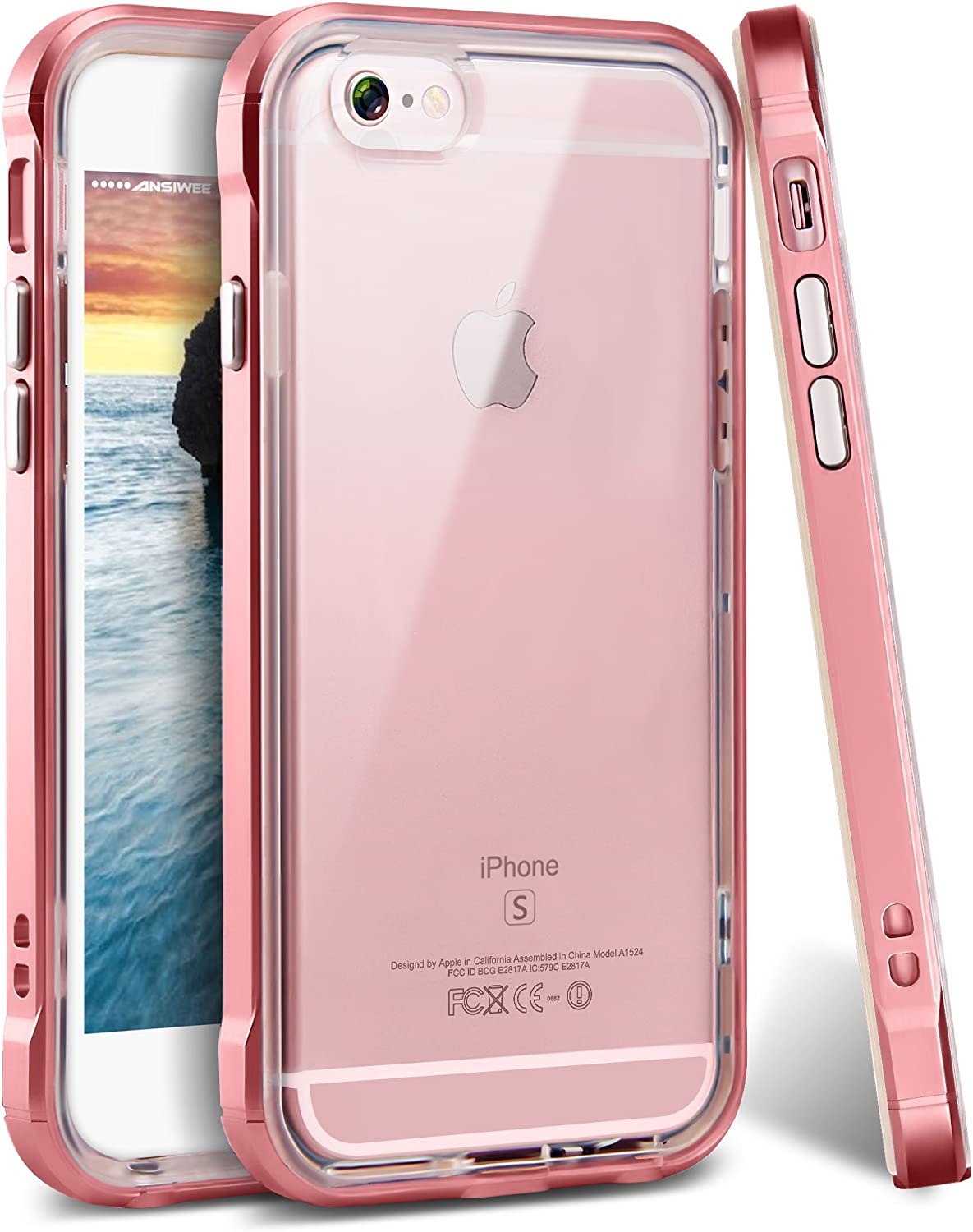 ANSIWEE iPhone 6s Plus Case, Reinforced Frame Crystal Highly Durable Shock-Absorption Flexible Soft Rubber TPU Bumper Hybrid Protective Case for Apple iPhone 6s/6 Plus 5.5inch (Rose Gold)