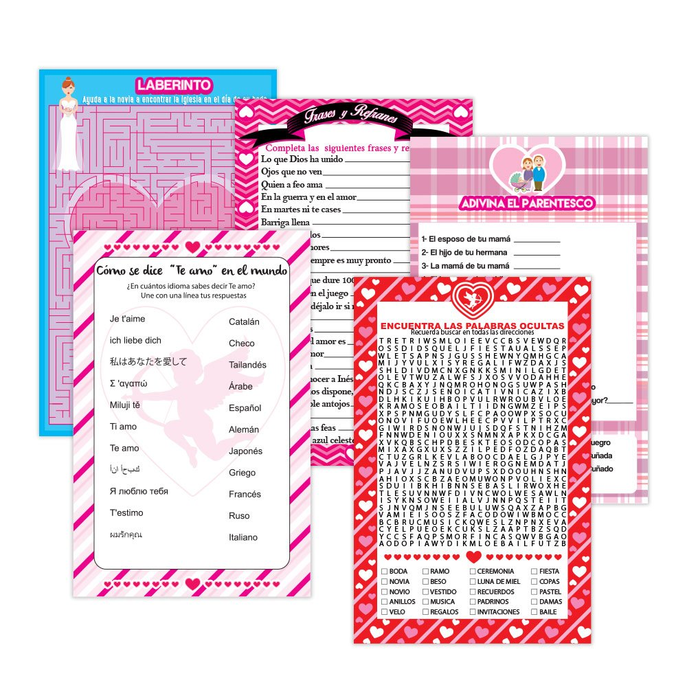 Amazon.com: Bridal Shower party set of 30 pieces, in Spanish. 5 Different Games Includes: Maze Game, Phrases and Sayings games, guess the kinship, ...
