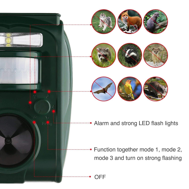 AUTSCA Ahuyentador Gatos Repelente ultrasónico para Animales,con LED,Carga Solar,ristente al Agua,Uso en Exteriores,Tierra de Jardinería y de ...