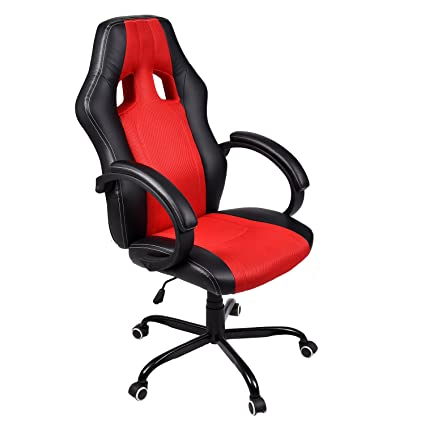 ELECWISH PU Leather Mesh Gaming Chair Racing Style High Back Swivel Computer  Office Chair,