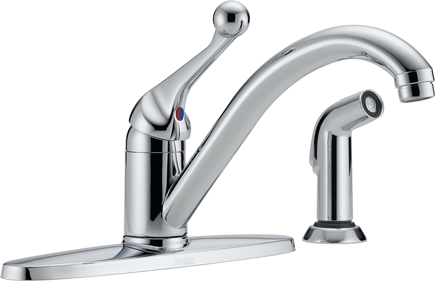Delta 400-BH-DST Classic Single Handle Kitchen Faucet with Spray, Chrome