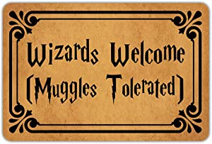 "Muikoo Front Door Mat Welcome Mat Wizards Welcome Muggles Tolerated Machine Washable Rubber Non Slip Backing Bathroom Kitchen Decor Area Rug Funny Doormat Indoor Outdoor Rug 23.6""(W) X 15.7""(L)"
