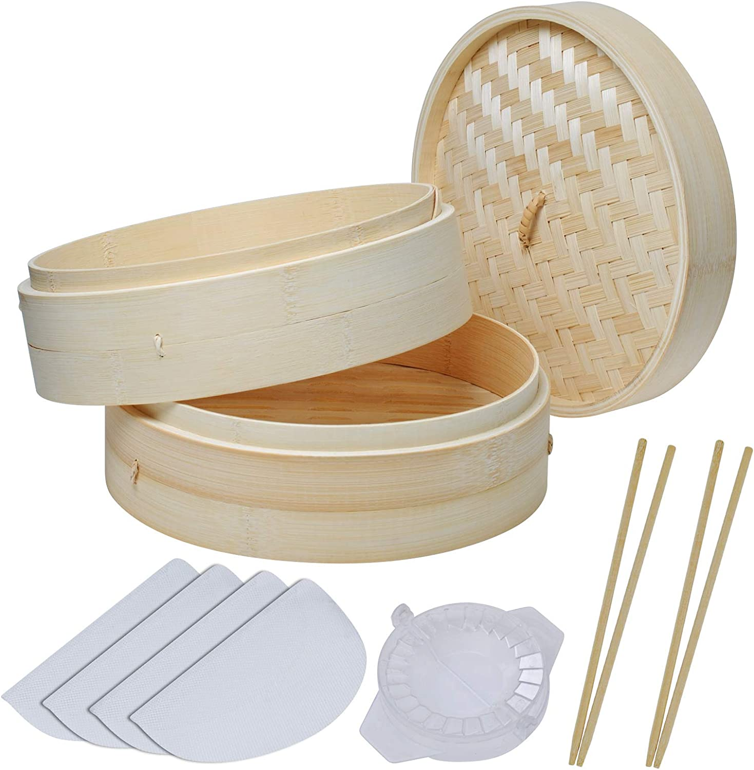 Bamboo Steamer 10 Inch, 2 Tier Handmade Bamboo Steamer Basket for Dumpling Cooking, Steaming Rice Buns Vegetables Fish with 4 Reusable Cotton Liners, 2 Sets Chopsticks & Dumpling Maker