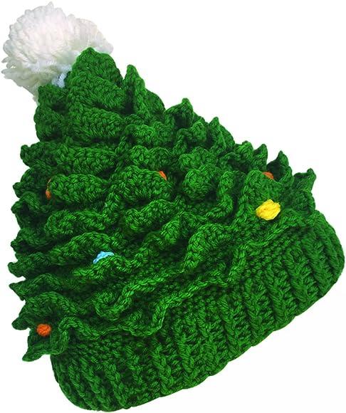 Crochet Christmas Hats Adults.Unisex Christmas Winter Knitted Crochet Beanie Santa Hat Bearded Caps