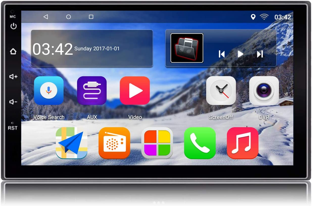 KKXXX S2 Android 9.0 Autoradio Am FM RDS 2 DIN Navegacion GPS 1 GB RAM 16 GB ROM Pantalla Tactil Capacitiva 7 Pulgadas 1080P Control del Volante BT WiFi