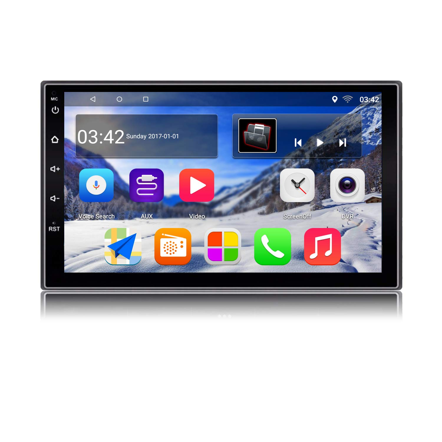 KX018 Android 7.1 Car Stereo GPS de navegación Auto Radio AM / FM 2 Din Head