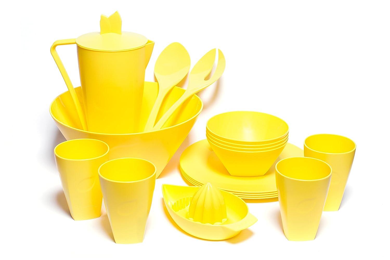 Vajilla Viva de 17 piezas (platos, ensaladera, jarra y recipientes) para 4 personas de Skaza Exceeding Expectations. De plástico, no contiene bisfenol-A. ...