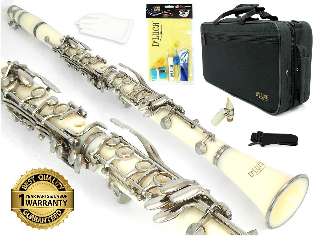 D'Luca 200WH 200 Series ABS 17 Keys Bb Clarinet with Double Barrel, Canvas Case, Cleaning Kit, White by D'Luca