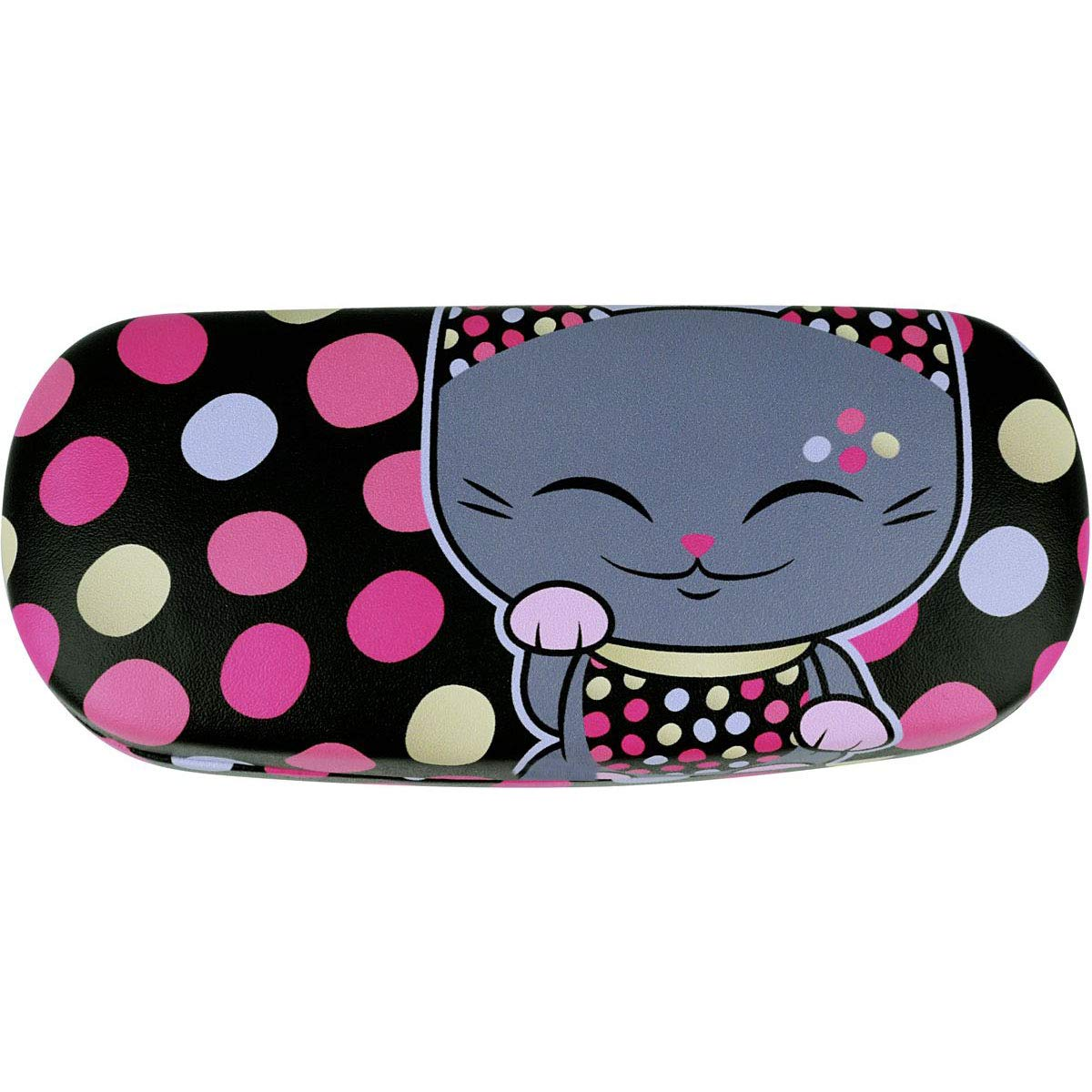 Handmade Russian Glasses case for women, on a solid basis, black with color print