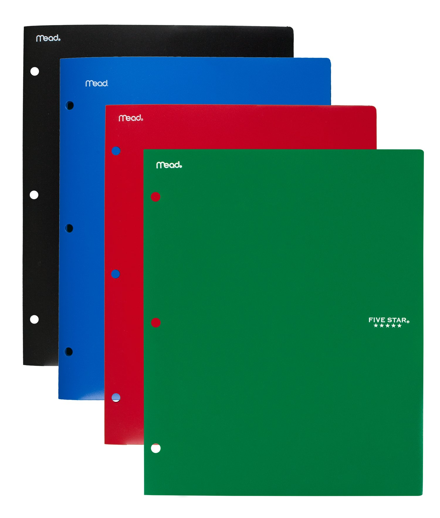 Five Star 2 Pocket Folders, Stay-Put Tabs, Binder Folders with Pockets, Fits 3 Ring Binder, Plastic, Black, Red, Green, Blue, 4 Pack (38049) by Five Star