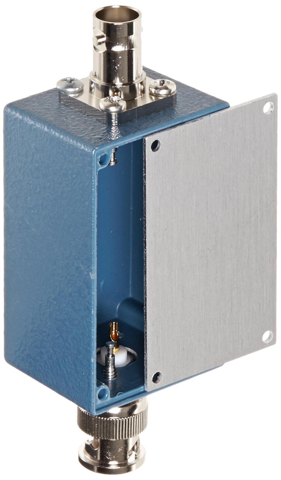Pomona 3231 Aluminum Shielded Box with Cover, Size B, Blue Baked Enamel Finish, BNC Male to Female Connector, 2.25'' L x 1.38'' W x 1.13'' D (Pack of 2)