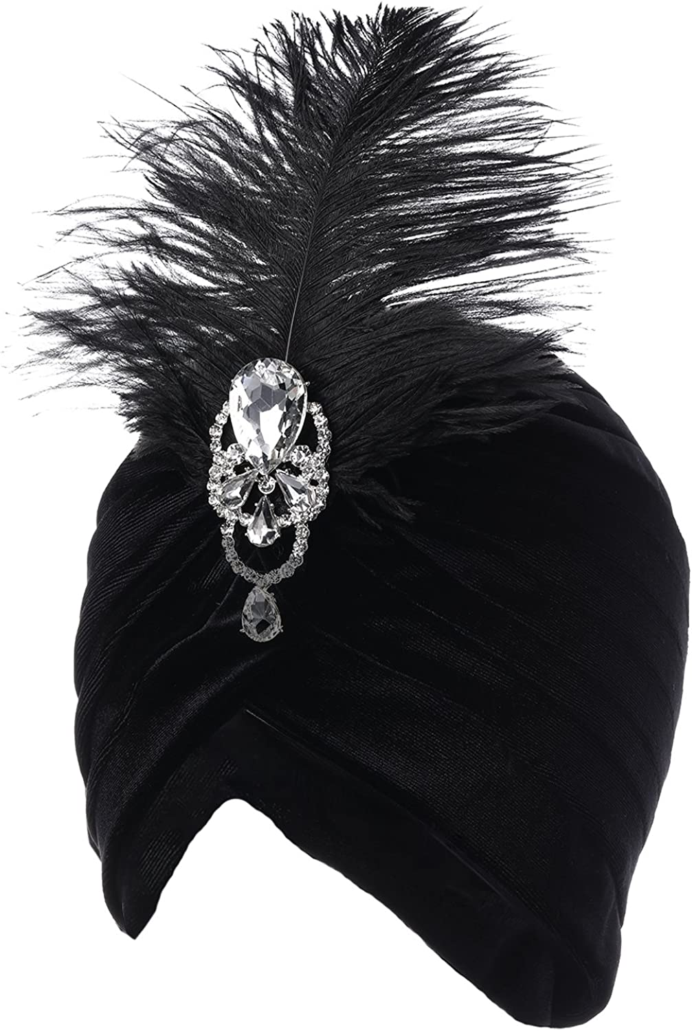 1920s Headband, Headpiece & Hair Accessory Styles ArtiDeco Ruffle Turban Hat for Women Feather Turban Hat with Detachable Crystal Brooch Headwraps Knit Pleated Turban Hat Vintage £10.99 AT vintagedancer.com