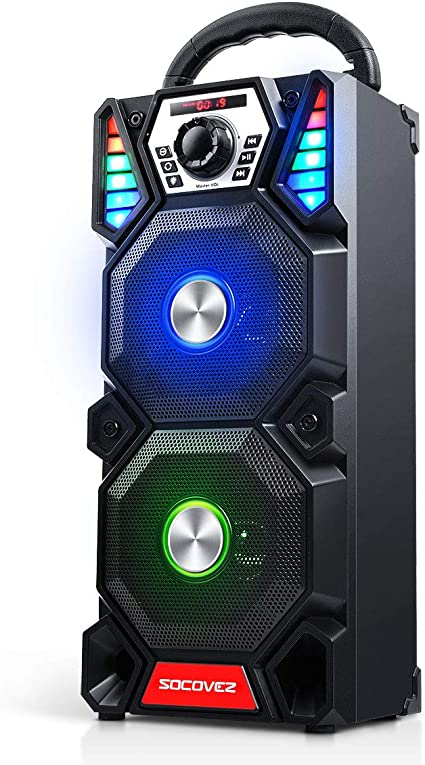 SOCOVEZ Portable Bluetooth Speaker with Double Subwoofer,Bluetooth Speaker  with Audio Recording/LED Light, Portable Speaker Support MIC/AUX/USB/Micro