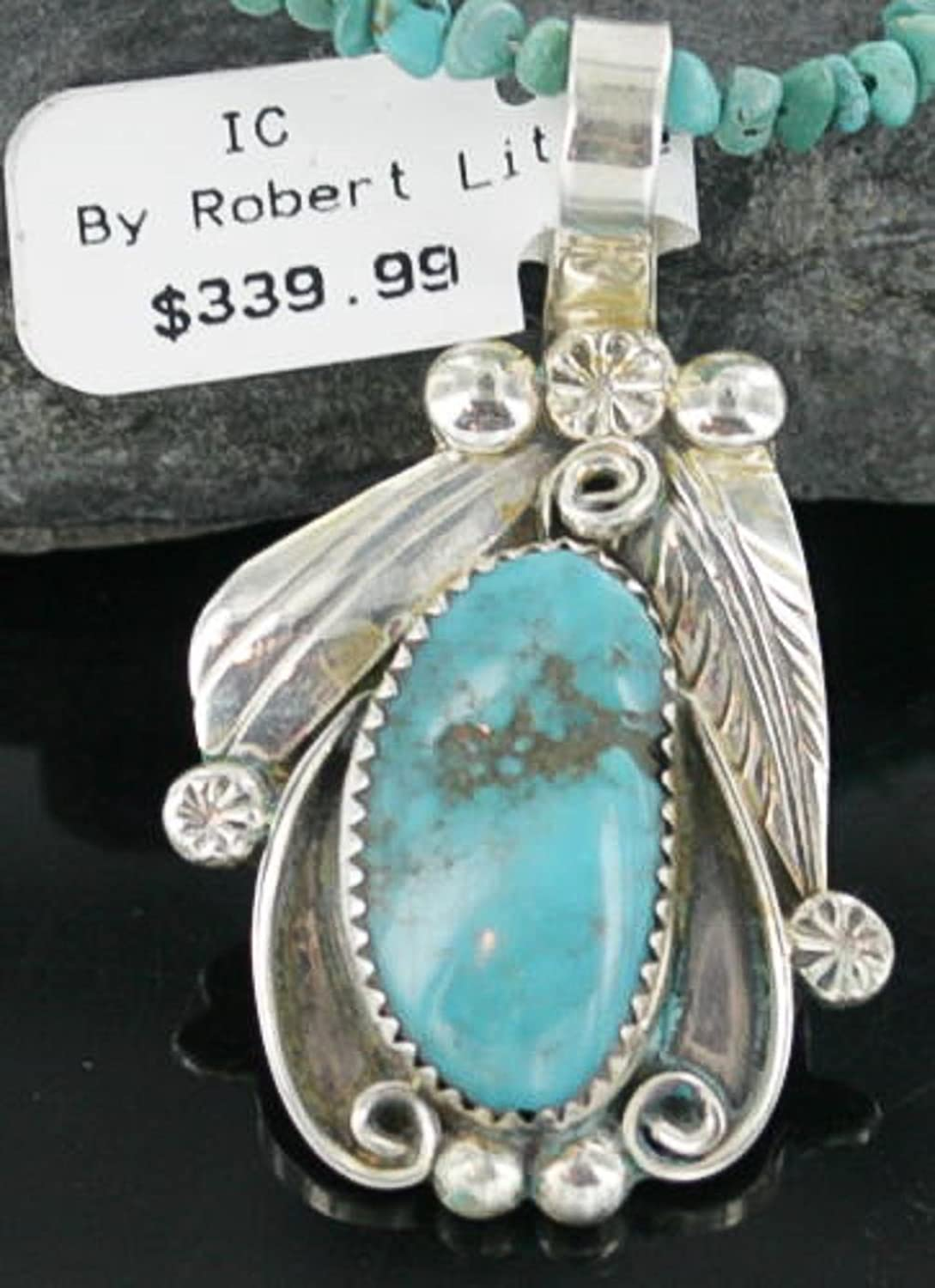 $520 Retail Tag Handmade Authentic Made by Robert Little Navajo Silver Natural Turquoise Native American Necklace