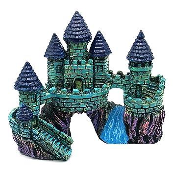 KOBWA Decoración de Paisaje para pecera, Diseño de Torre de Castillo de Resina de Dibujos Animados, Decoración submarina, Castillo de Roca: Amazon.es: ...