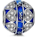 NinaQueen Amour bleu Perle Charm pour femme argent 925 compatible avec pandora charms bracelets bijoux Cadeau Saint Valentin Fete des Meres Anniversaire Cadeaux Noel Maman Mere Fille