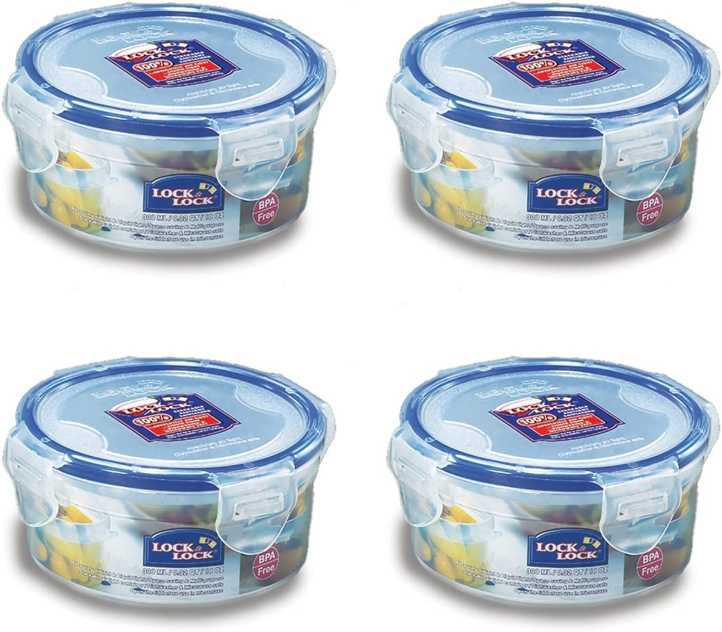 Lock & Lock Round Water Tight Food Container Snack Box, Set of 4, Clear