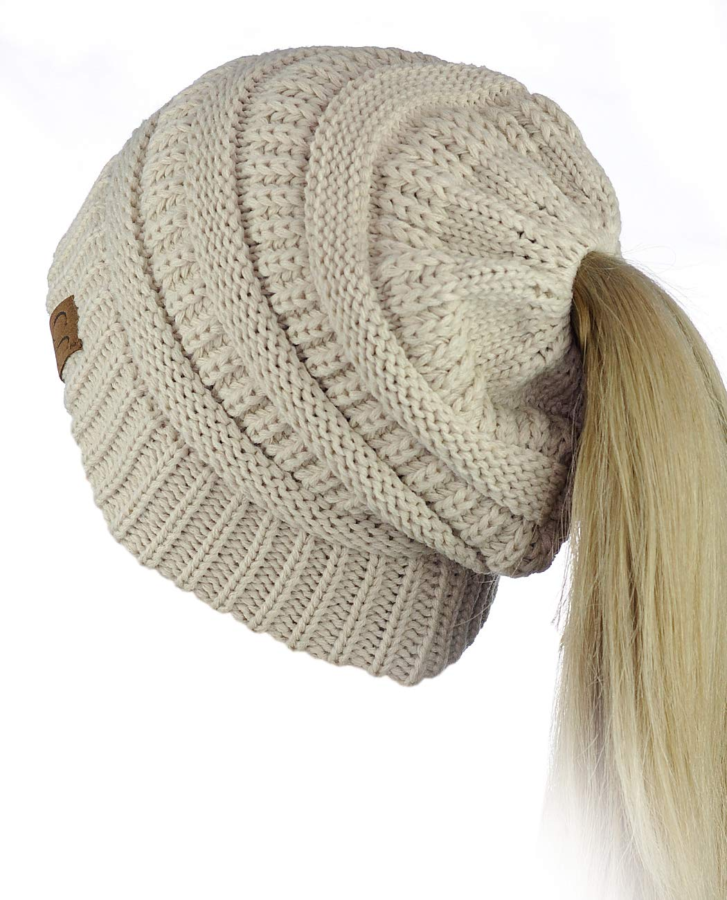C.C BeanieTail Soft Stretch Cable Knit Messy High Bun Ponytail Beanie Hat, Beige