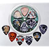 GUITAR PICK PACK 6 ROCK IMAGE PLECTRUMS - 2 LIGHT 0.50MM - 2 MEDIUM 0.88MM - 2 HEAVY 1.14MM GUAGE - PICK WALLET REFILL