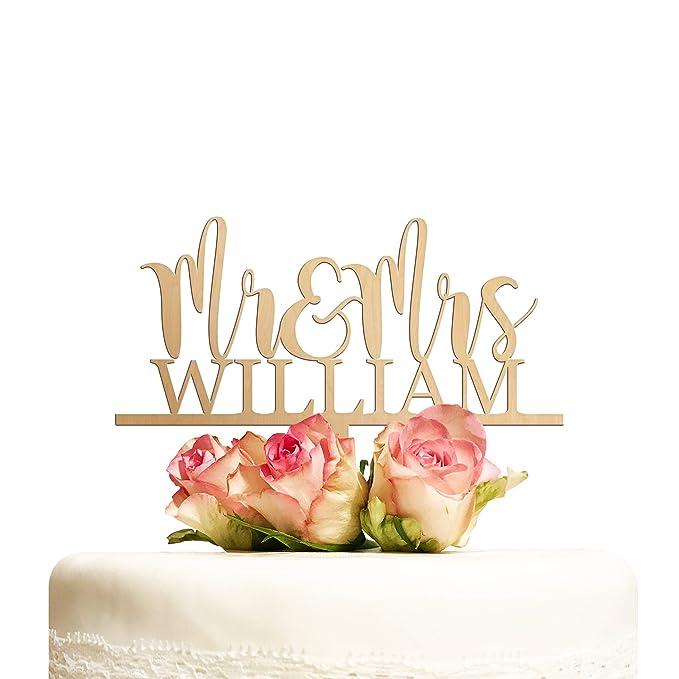 Cake Topper Hochzeit personalisiert Holz mit Namen Kuchentopper Mr & Mrs Hochzeitstorte Tortenaufsatz Tortendeko Deko Hochzei