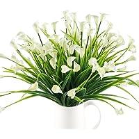 MIHOUNION cespuglio artificiale da esterno callazantedeschia arbusti artificiali fiori di plastica piante finte verdi per decorazioni balcone vaso esterno interno 4 pcs bianca