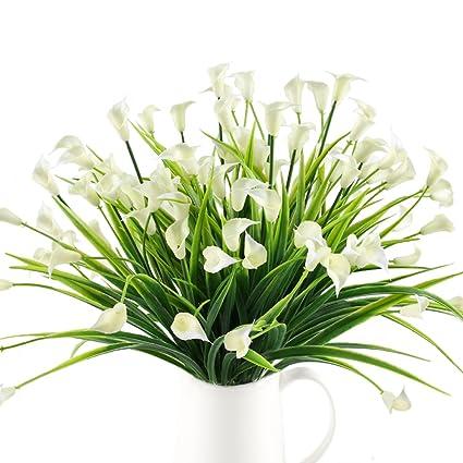 Mihounion Calla Lily Planta Verdes Artificiales Flores De Plastico - Plantas-verdes-exterior