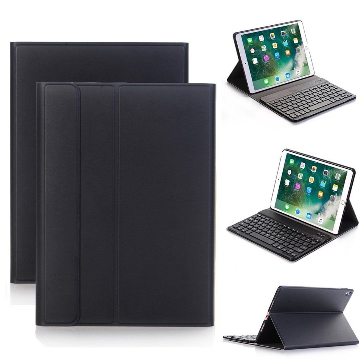 Wireless Bluetooth Keyboard Case Cover,Vacio 10.5 inch keyboard case PU Leather Smart Case Stand Folio Cover with Detachable Wireless Bluetooth Keyboard for ipad pro 10.5 (Black)